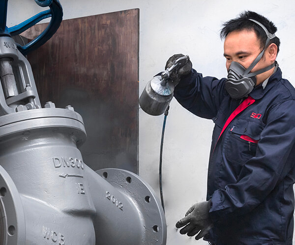 Ultrasonic Cleaning and Spraying to protect valve